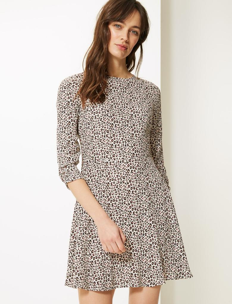 Krem Desenli Mini Elbise