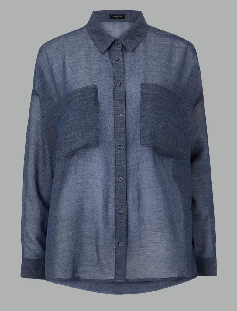 Kadın Mavi Bol Kesim Uzun Kollu Gömlek