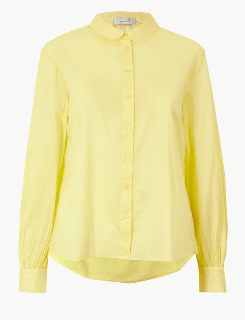 Kadın Sarı Saf Pamuklu Uzun Kollu Gömlek