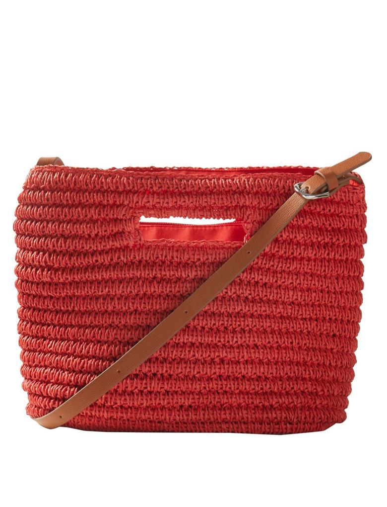 Kırmızı Hasır Çapraz Çanta