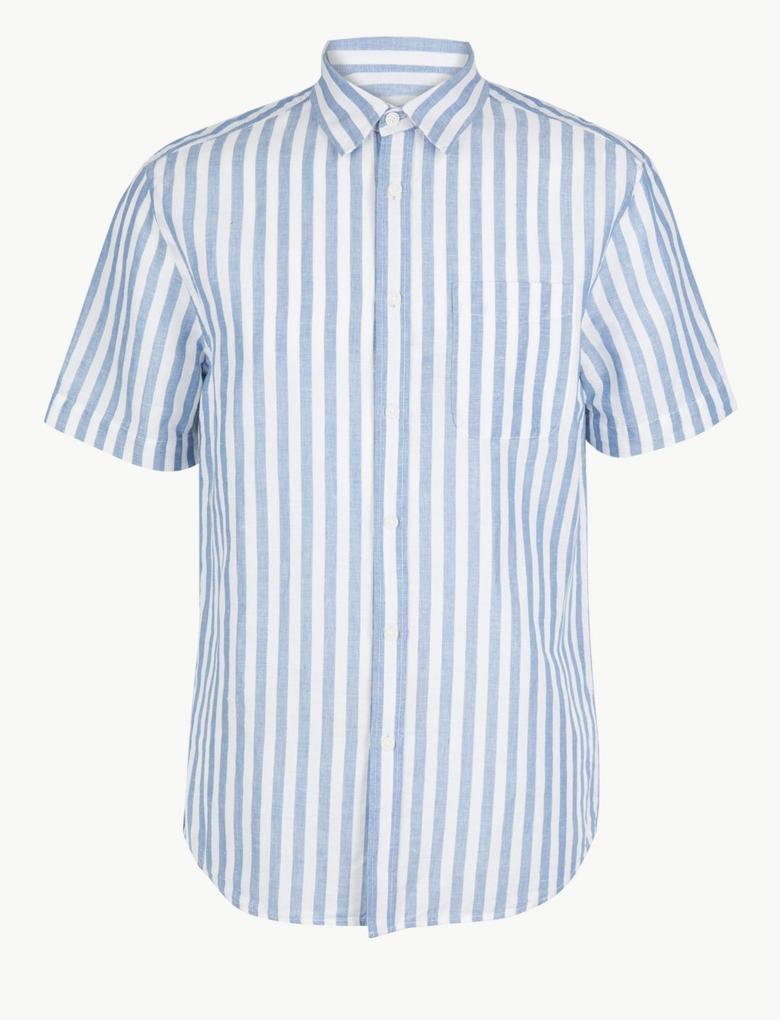 Keten Karışımlı  Çizgili Gömlek
