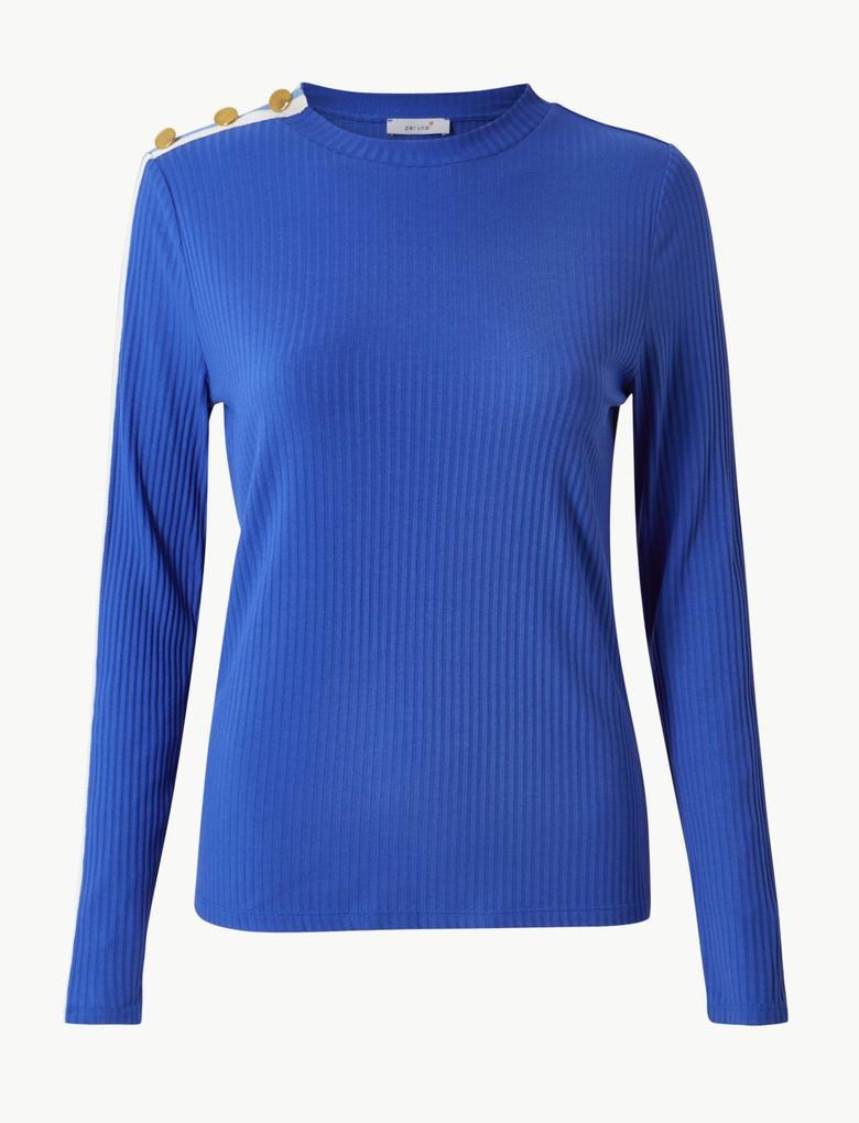 Kadın Mavi Yuvarlak Yaka Uzun Kollu T-Shirt