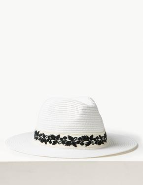 İşlemeli Hasır Şapka