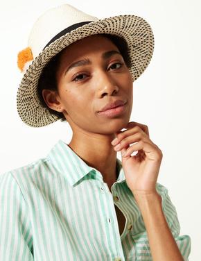 Ponponlu Hasır Şapka