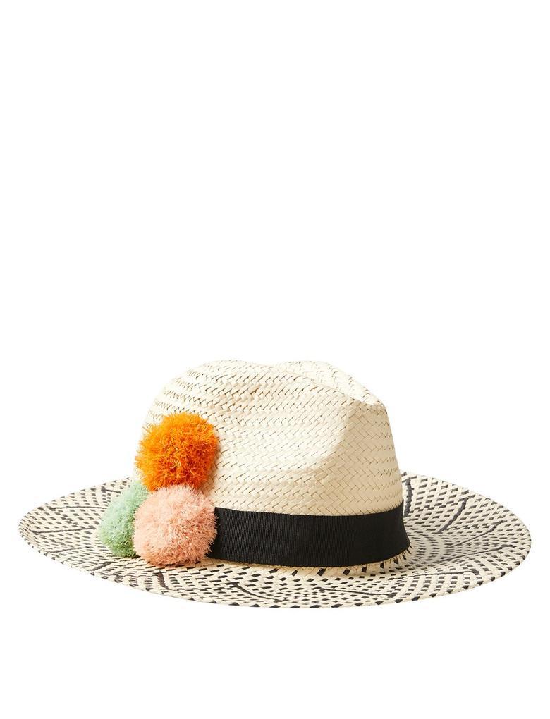 Kadın Multi Renk Ponponlu Hasır Şapka