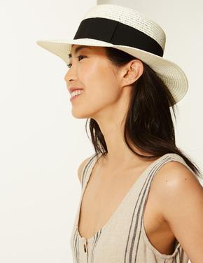 Şeritli Hasır Şapka