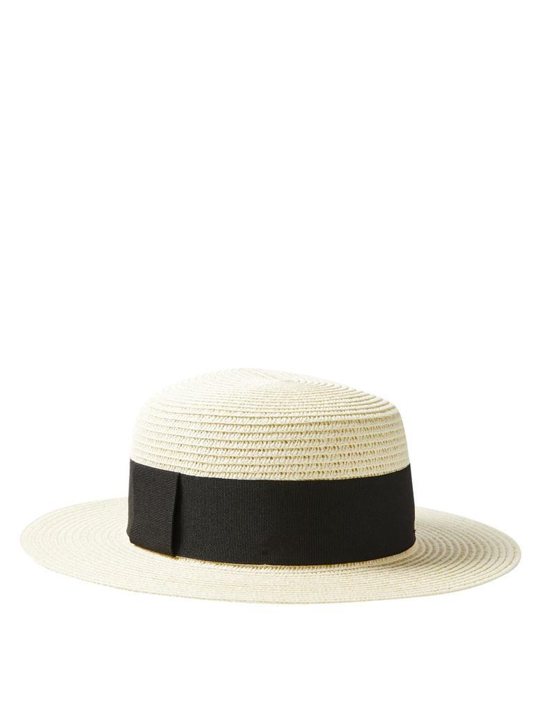 Kadın Bej Şeritli Hasır Şapka