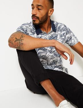 Saf Pamuklu Yaprak Desenli Polo Yaka T-Shirt