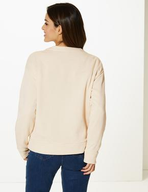 Saf Pamuklu Uzun Kollu Desenli Sweatshirt