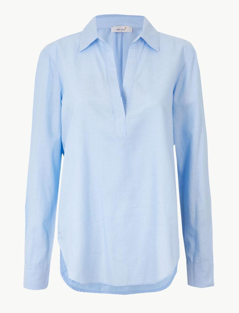 Mavi Saf Pamuklu Uzun Kollu Gömlek