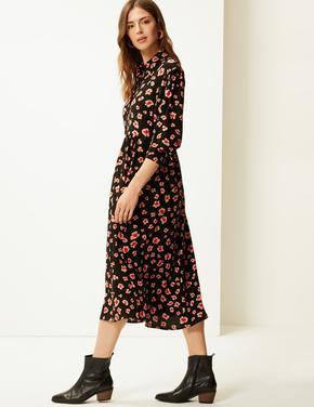 Çicek Desenli Midi Elbise