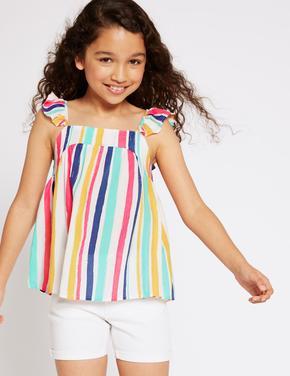 Renkli Çizgili Bluz