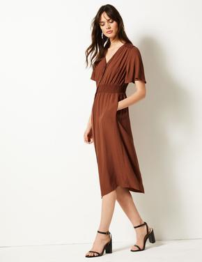 Düğmeli Midi Elbise