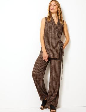 Geometrik Desenli Geniş Paça Pantolon