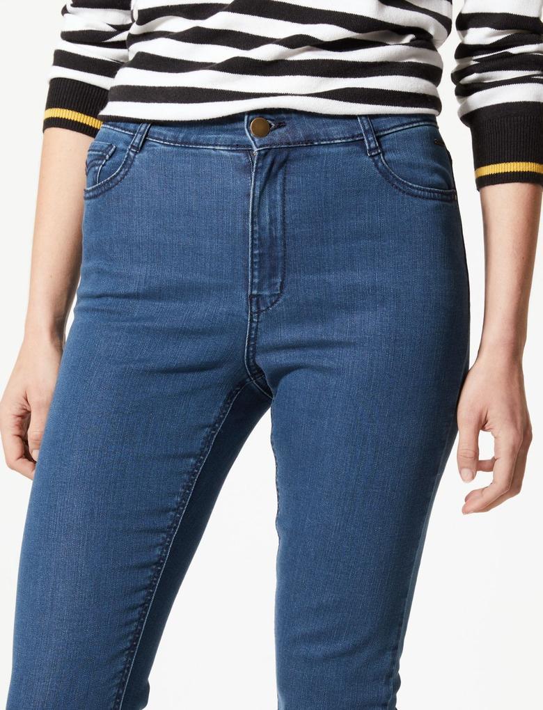 Kadın Lacivert Yüksek Bel Slim Bilekte Jean Pantolon