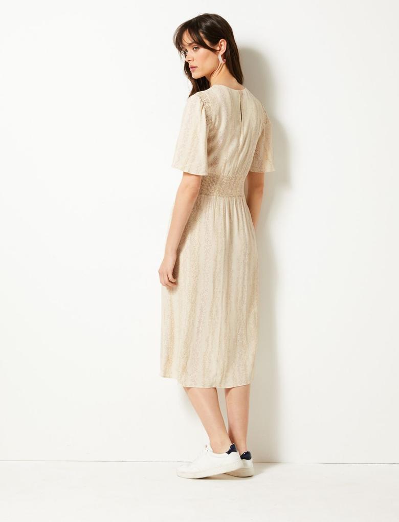 Bej Desenli Midi Elbise