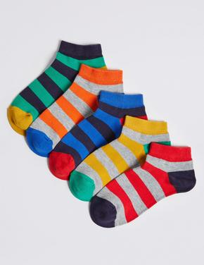 "5 Pairs of Rugby Trainer Liner Socks with Freshfeetâ""¢"