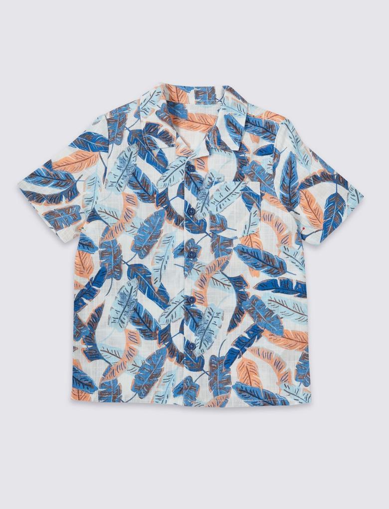 Saf Pamuklu Desenli Gömlek