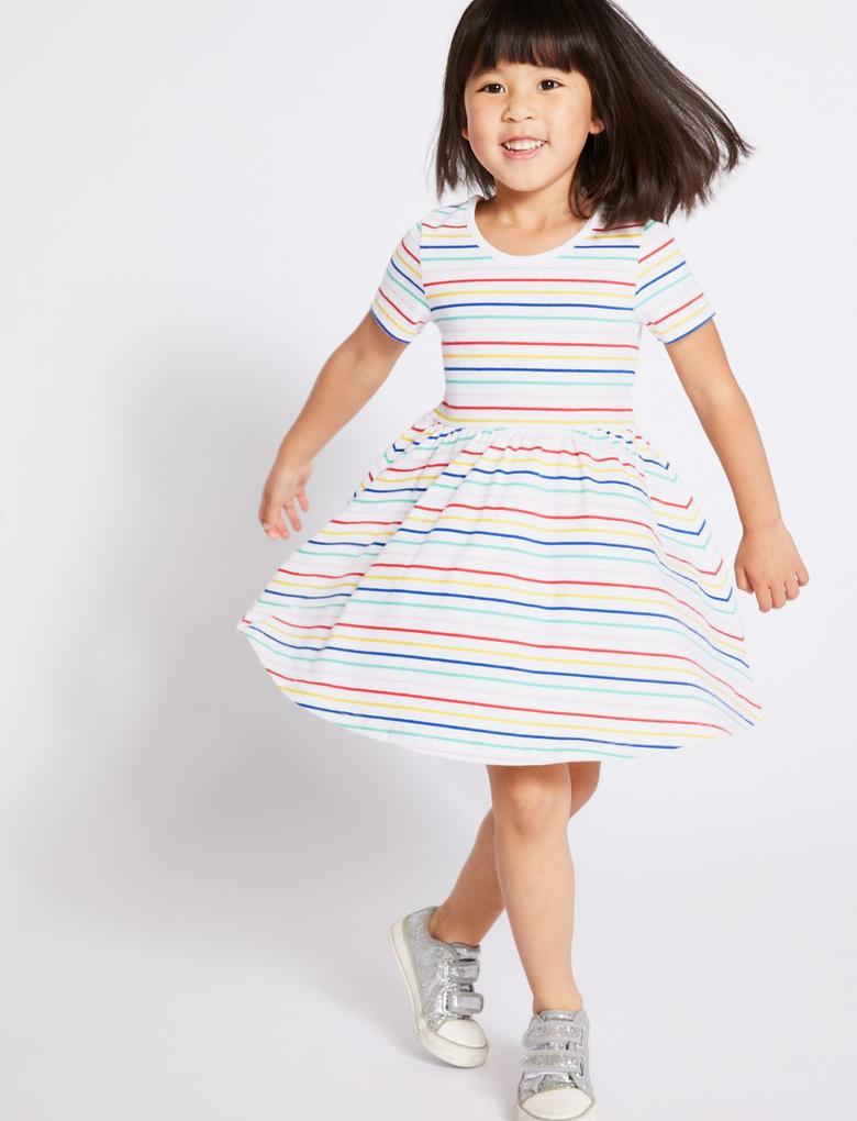 Multi Renk Saf Pamuklu Çizgili Elbise