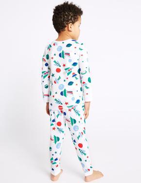 Uzay Desenli Pamuklu Pijama Takımı
