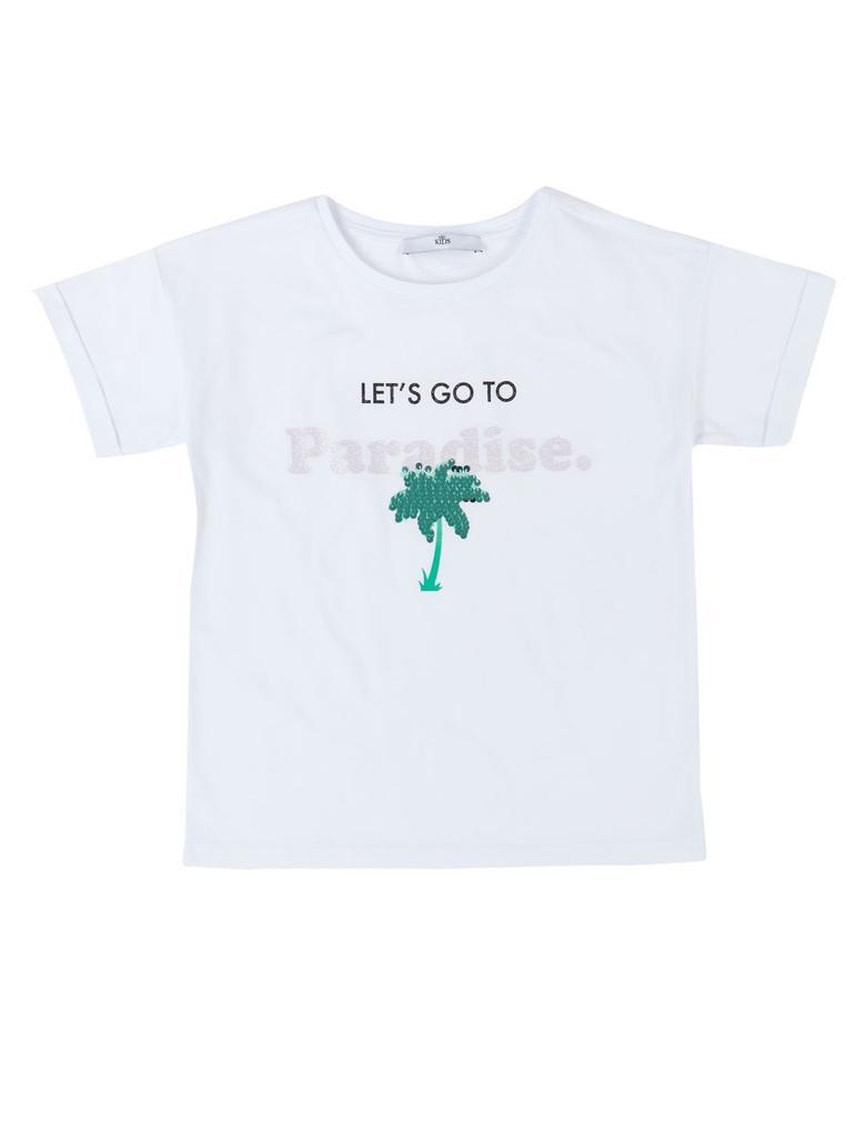 Saf Pamuklu Paradise Beyaz T-Shirt