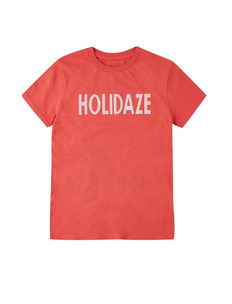 """Multi Renk Saf Pamuklu """"Holidaze"""" Baskılı T-shirt"""