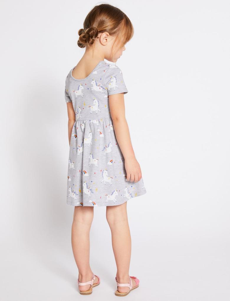 Gri Unicorn Desenli Elbise
