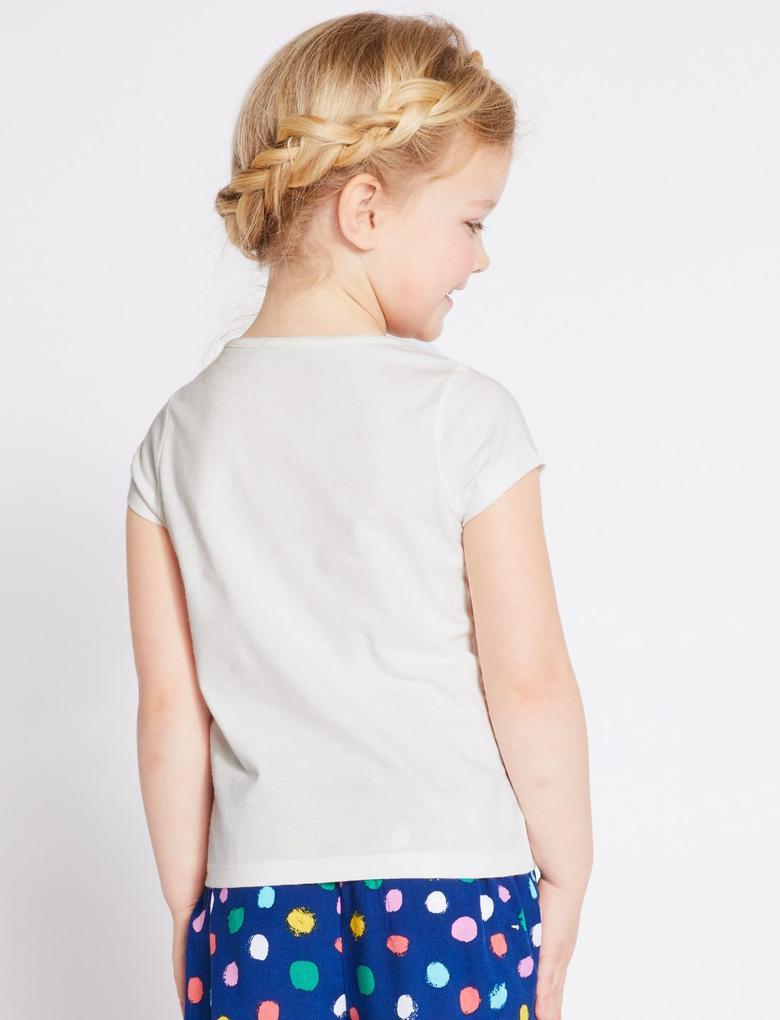 Beyaz Saf Pamuklu Balina Desenli T-shirt