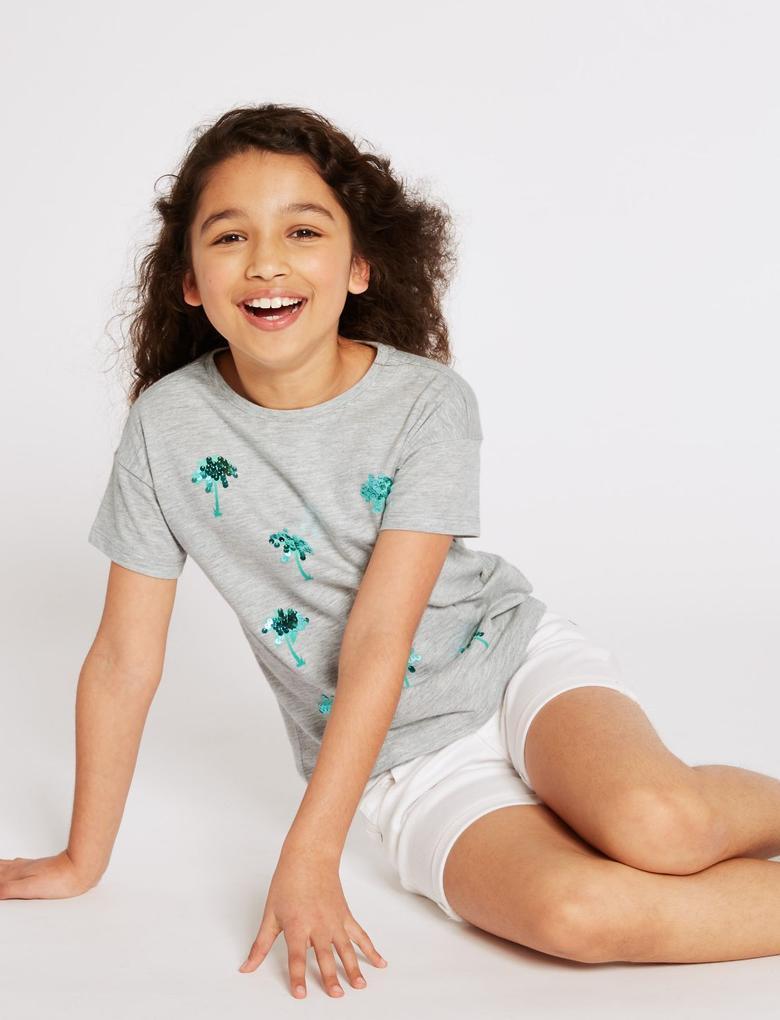 Kız Çocuk Gri Saf Pamuklu Palm Gri T-Shirt