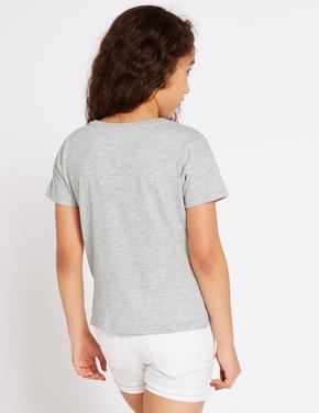 Saf Pamuklu Palm Gri T-Shirt