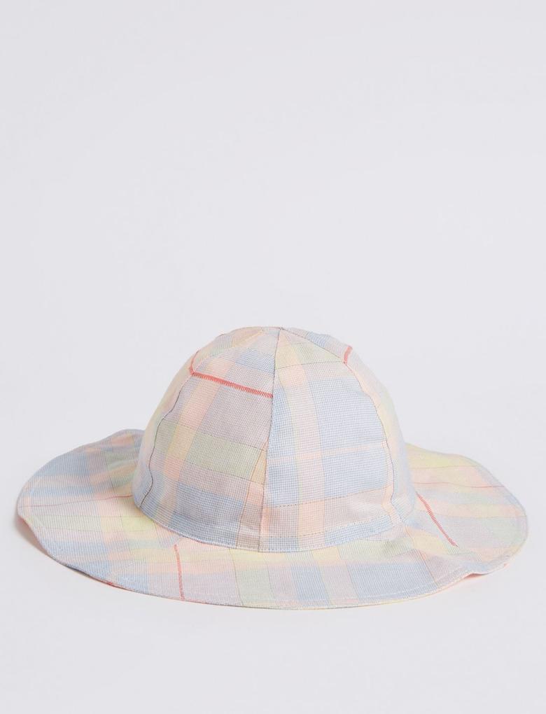Kız Çocuk Multi Renk Ekose Desenli Fırfırlı Şapka
