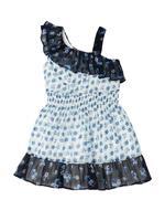Mavi Fırfır Detaylı Çiçekli Elbise