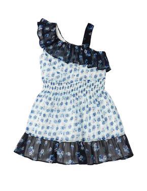Fırfır Detaylı Çiçekli Elbise