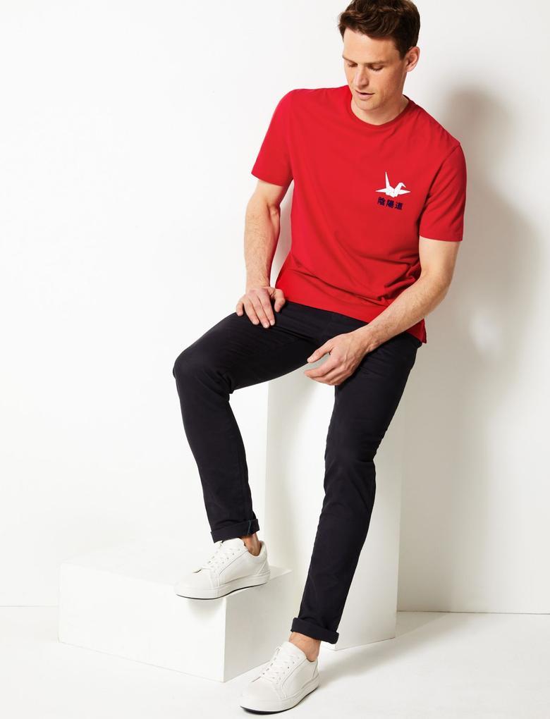 Erkek Kırmızı Desenli Sıfır Yaka T-shirt