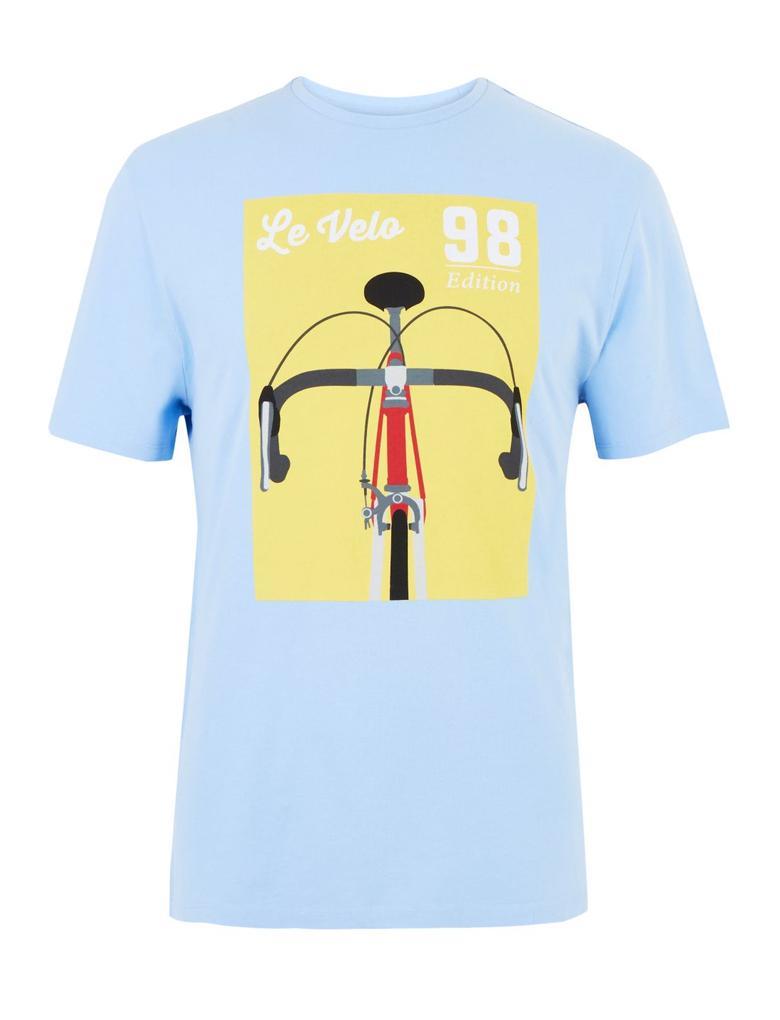 Mavi Desenli Sıfır Yaka T-shirt