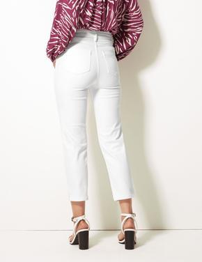 Beyaz Sculpt & Lift Slim Fit Bilekte Jean Pantolon
