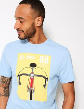 Desenli Sıfır Yaka T-shirt