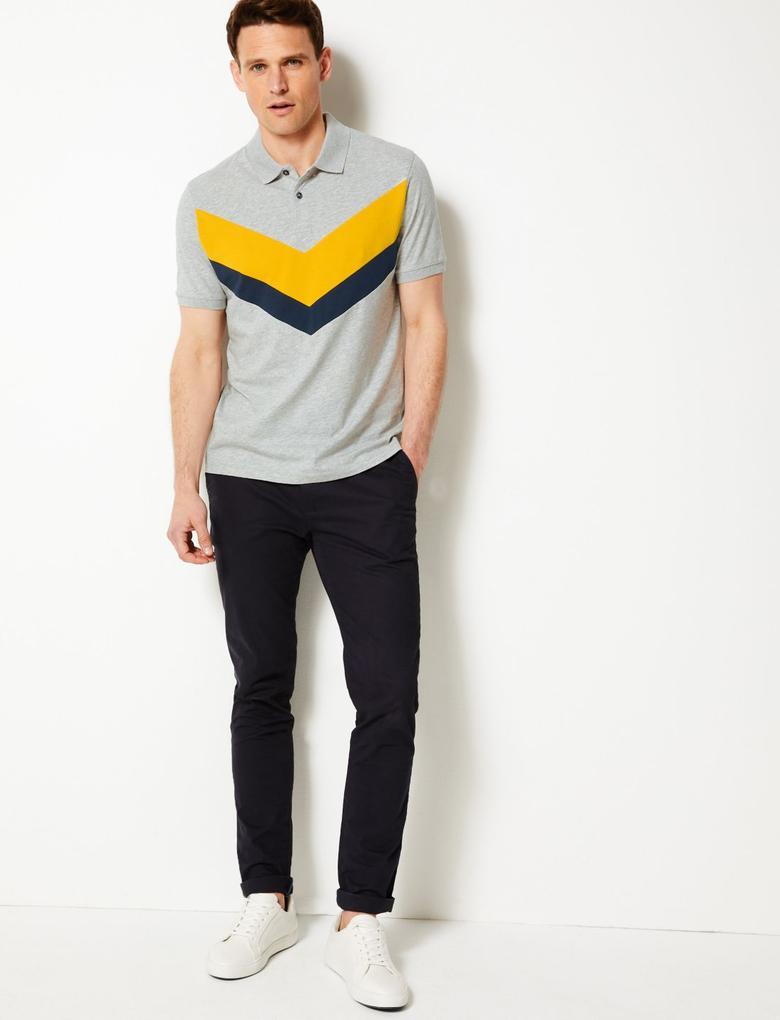 Gri Saf Pamuklu Çizgili Polo Yaka T-shirt