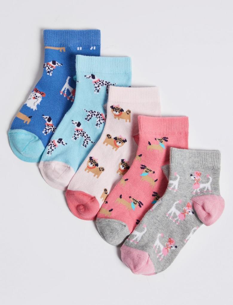 Multi Renk Freshfeet™ 5'li Desenli Spor Çorabı