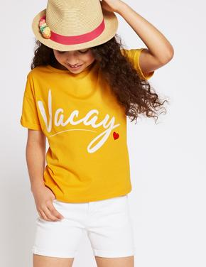 Saf Pamuklu Vacay T-Shirt