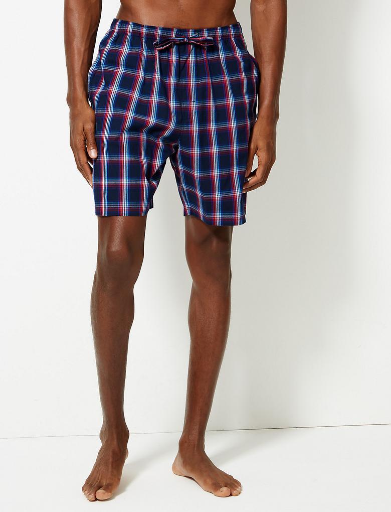 Erkek Pembe Saf Pamuklu Ekose ve Çizgili Pijama Takımı