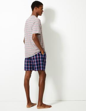 Saf Pamuklu Ekose ve Çizgili Pijama Takımı