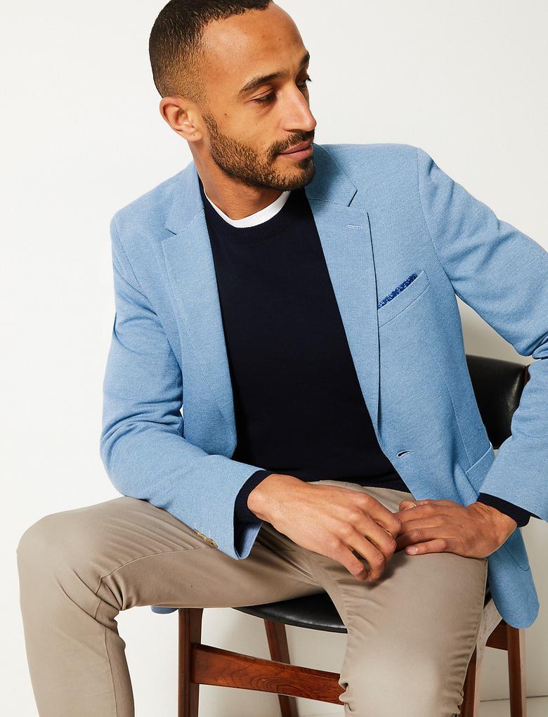 Erkek Mavi Pamuklu Slim Fit Ceket