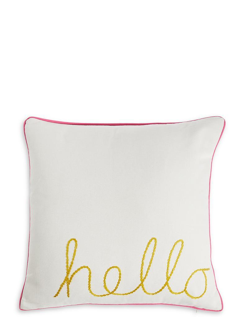 Ev Pembe Hello İşlemeli Yastık