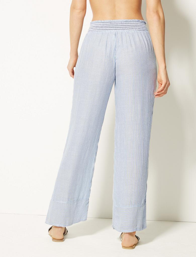Kadın Mavi Saf Modal Plaj Pantolonu