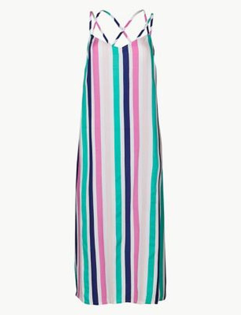Pembe Çizgili Plaj Elbisesi