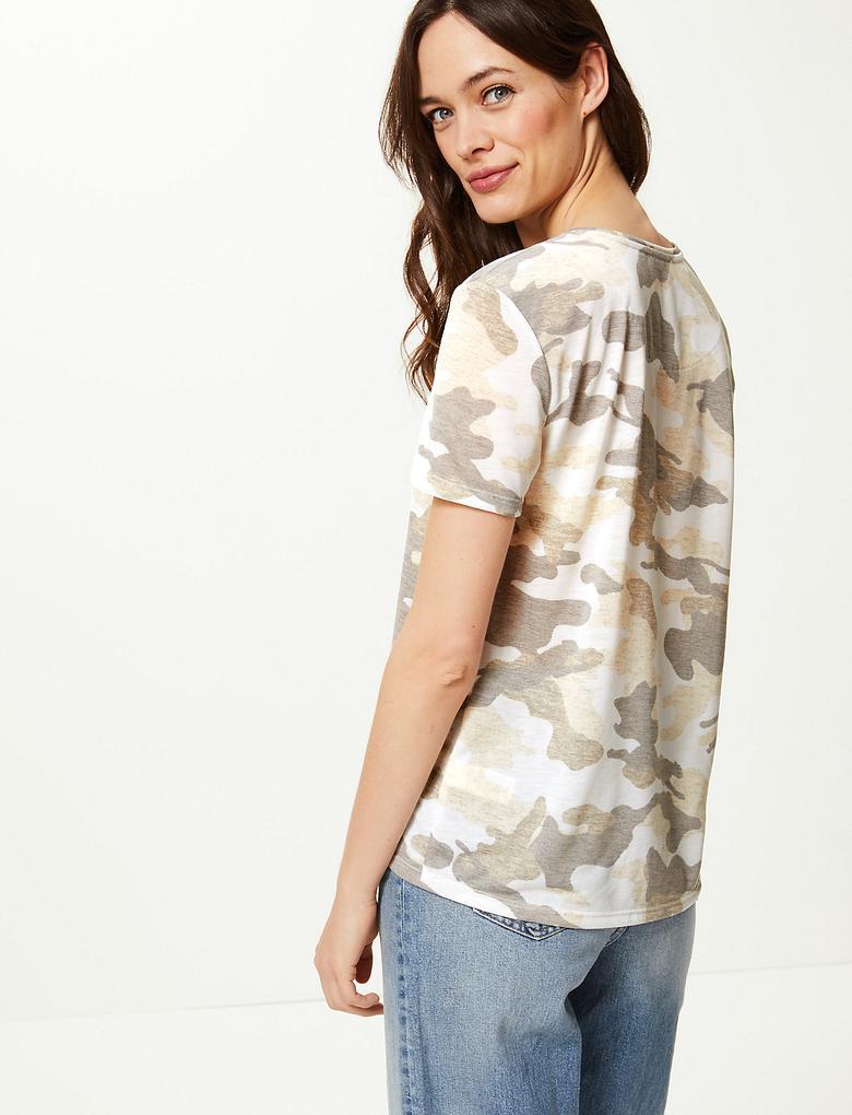 Kamuflaj Desenli T-Shirt
