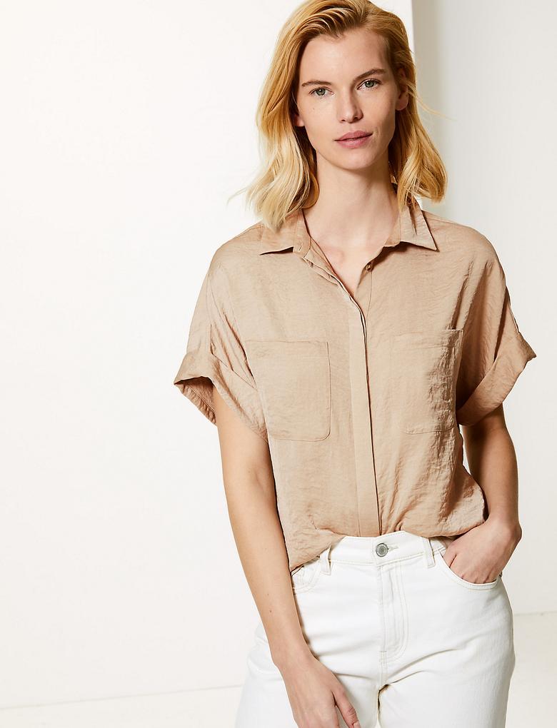 Kadın Kahverengi Oversized Saten Kısa Kollu Gömlek