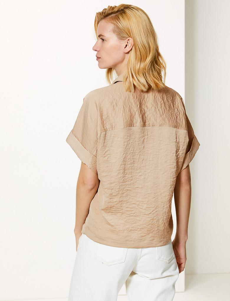 Oversized Saten Kısa Kollu Gömlek