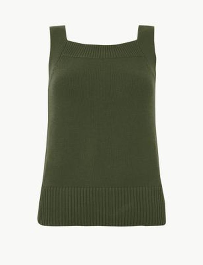 Kadın Yeşil Kare Yaka Kolsuz Triko Bluz